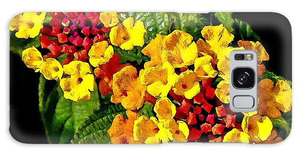 Red And Yellow Lantana Flowers With Green Leaves Galaxy Case
