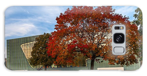 Red And Yellow Tree At The Front Of The Museum Of The History Of Polish Jews In Warsaw Galaxy Case