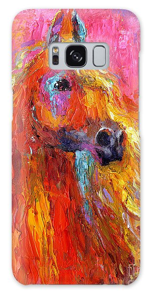 Red Arabian Horse Impressionistic Painting Galaxy Case