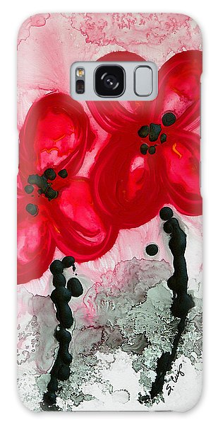 Red Asian Poppies Galaxy Case