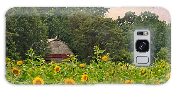 Red Barn Among The Sunflowers Galaxy Case