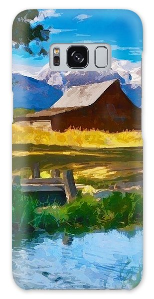 Red Barn And Mountains  Galaxy Case