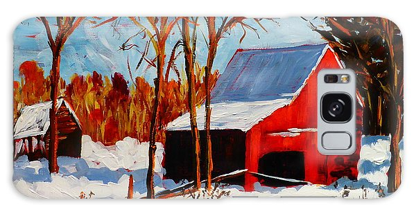Red Barn First Snow Galaxy Case