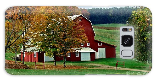 Red Barn In Autumn Galaxy Case by Christian Mattison