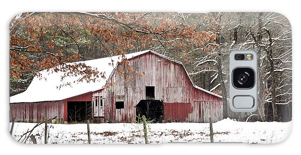 Red Barn In Snow Galaxy Case