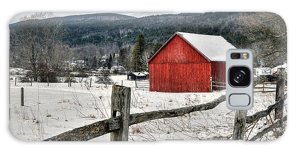 Red Barn In Winter - Tyringham Cobble Galaxy Case