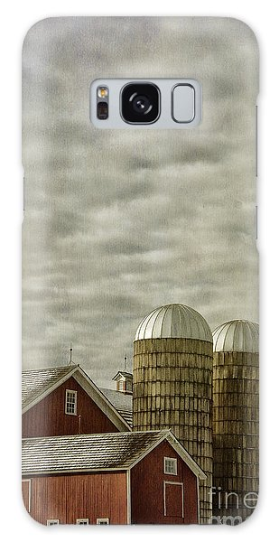 Red Barn With Two Silos Galaxy Case