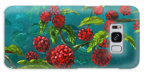 Red Berries In Blue Green Painting Galaxy Case by Lenora  De Lude