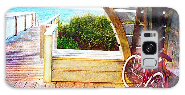 Red Bike On Beach Boardwalk Galaxy Case