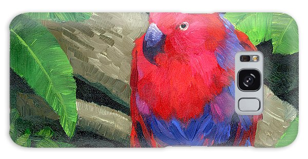 Parakeet Galaxy Case - Red Bird by Alice Leggett