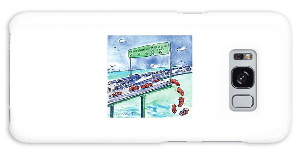 Red Cars Drop Off A Bridge Under A Sign That Says Galaxy Case by Michael Crawford
