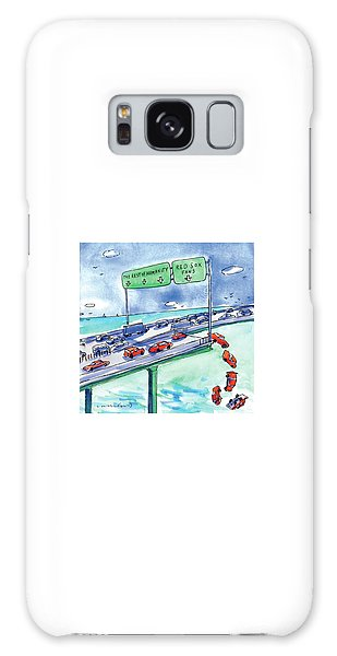 Baseball Galaxy Case - Red Cars Drop Off A Bridge Under A Sign That Says by Michael Crawford
