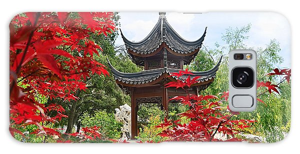 Gardens Galaxy Case - Red - Chinese Garden With Pagoda And Lake. by Jamie Pham