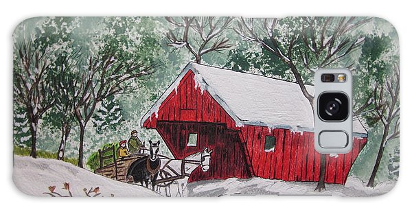 Red Covered Bridge Christmas Galaxy Case