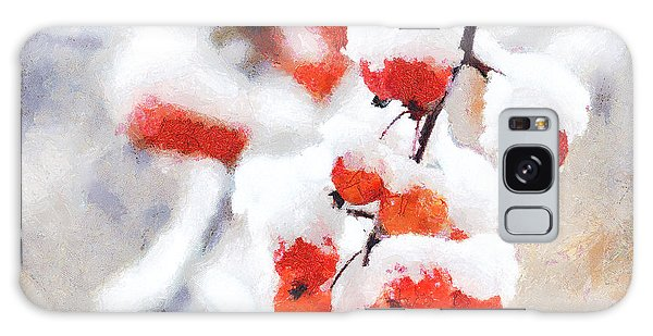 Red Crabapples In The Winter Snow - A Digital Painting By D Perry Lawrence Galaxy Case