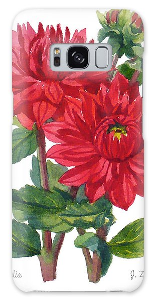 Red Dahlias Galaxy Case