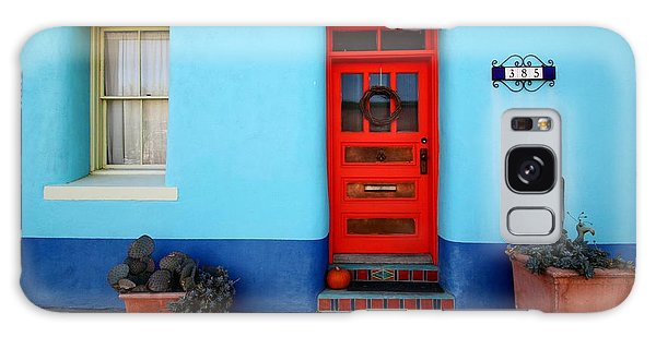 Red Door On Blue Wall Galaxy Case