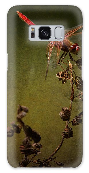 Red Dragonfly On A Dead Plant Galaxy Case