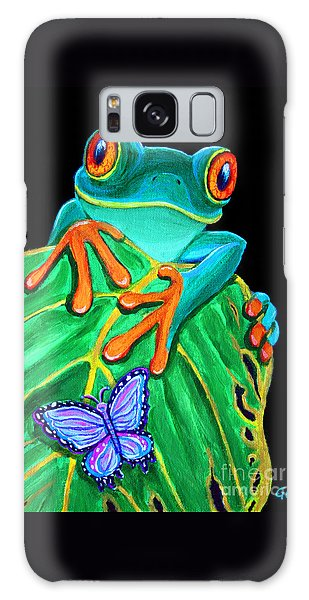 Red-eyed Tree Frog And Butterfly Galaxy Case by Nick Gustafson