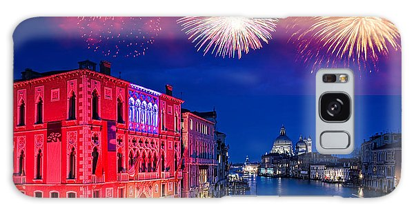 Fireworks Galaxy Case - Red Fireworks In Venice by Delphimages Photo Creations