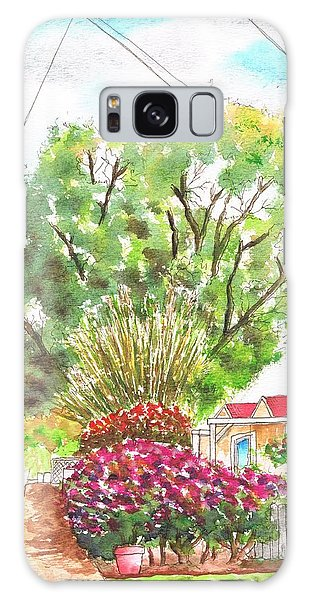 Red Flowers And A Tree In Santa Paula - California Galaxy Case