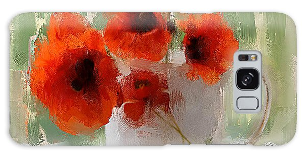 Red Flowers In A Cup Galaxy Case