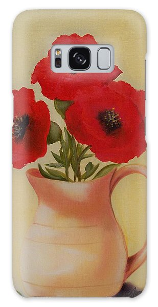 Red Flowers In Clay Pot Galaxy Case