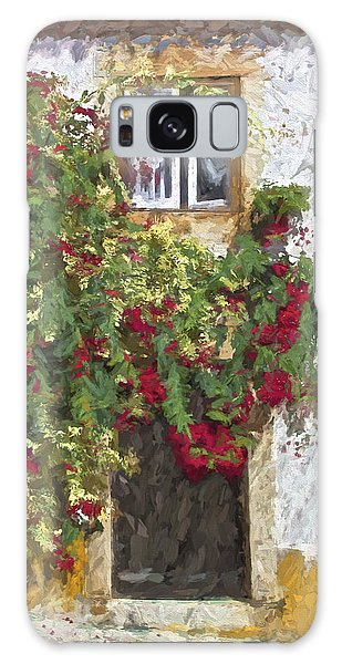 Red Flowers On Vine Galaxy Case