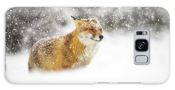 Furry Galaxy Case - Red Fox In A Heavy Snowstorm by Pim Leijen