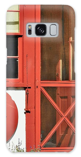 Red Framed Window And Door Galaxy Case by Kae Cheatham