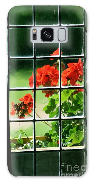 Red Geranium Through Leaded Window Galaxy Case