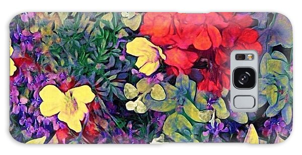 Red Geranium With Yellow And Purple Flowers - Square Galaxy Case