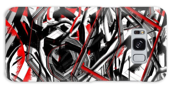 Red Gray And Black Abstract On White Background Galaxy Case by Jessica Wright