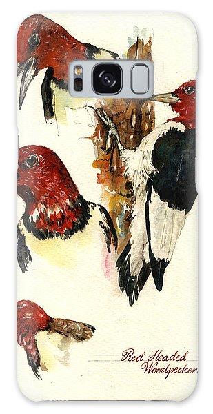 Woodpecker Galaxy S8 Case - Red Headed Woodpecker Bird by Juan  Bosco