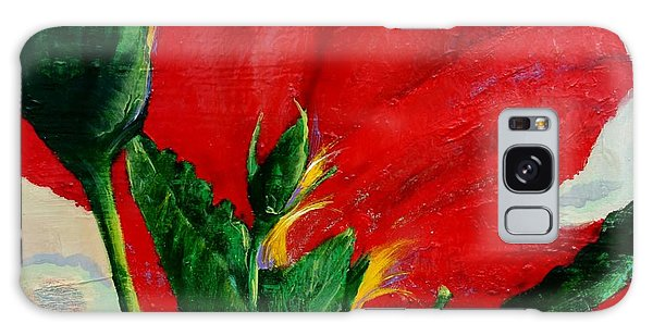 Red Hibiscus Galaxy Case by Jean Cormier
