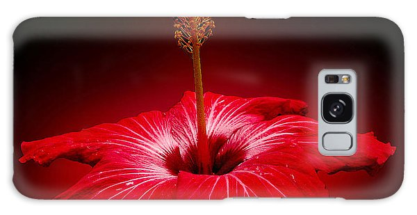 Red Hibiscus Tropical Flower Wall Art Galaxy Case