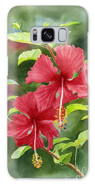 Hibiscus Galaxy Case - Red Hibiscus With Background by Sharon Freeman