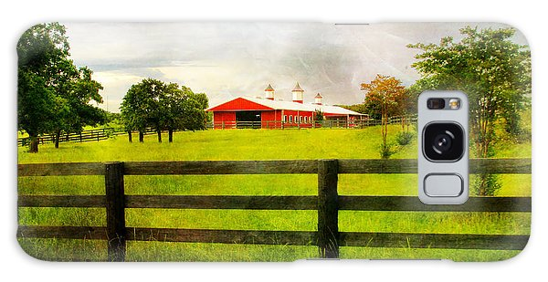 Red Horse Barn Galaxy Case by Joan Bertucci