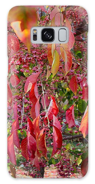 Red Leaves And Berries Galaxy Case
