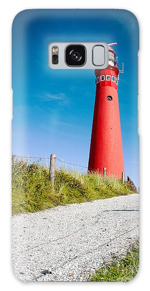 Red Lighthouse And Deep Blue Sky. Galaxy Case