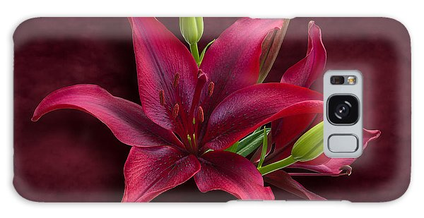 Red Lilies Galaxy Case by Jane McIlroy