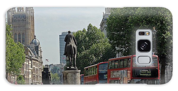 Red London Bus In Whitehall Galaxy Case by Tony Murtagh