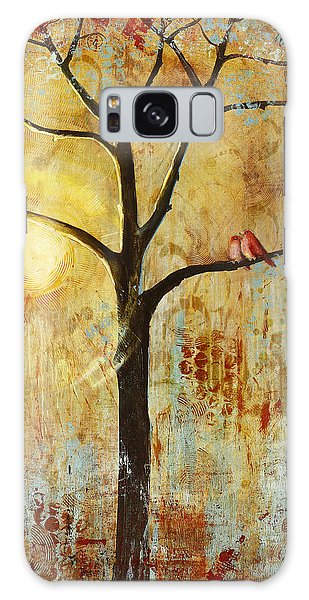 Contemporary Galaxy Case - Red Love Birds In A Tree by Blenda Studio