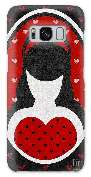 Red Love Heart Girl Galaxy Case