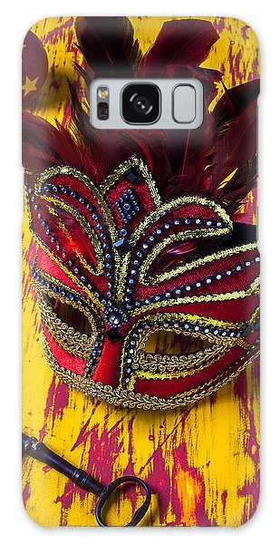 Feather Stars Galaxy Case - Red Mask And Key by Garry Gay