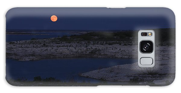 Red Moon Rising Galaxy Case by Amber Kresge