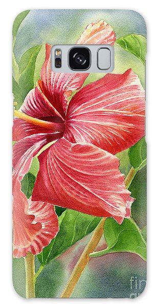 Hibiscus Galaxy Case - Red Orange Hibiscus With Background by Sharon Freeman