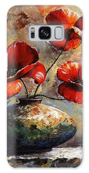 Red Poppies 02 Galaxy Case by Emerico Imre Toth