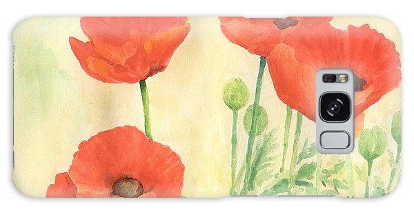 Red Poppies 3 Colorful Watercolor Poppy Floral Original Art Flowers Garden Artist K. Joann Russell Galaxy Case