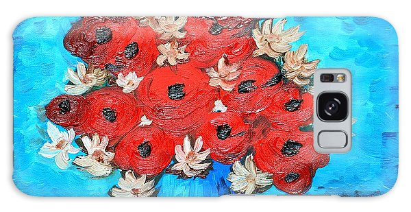 Red Poppies And White Daisies Galaxy Case by Ramona Matei